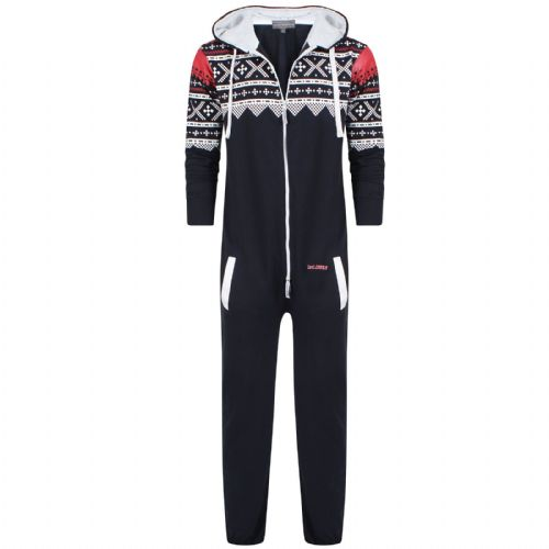 Mens Original 1on1 Onesie All In One Aztec Nordic Print Hooded Jumpsuit